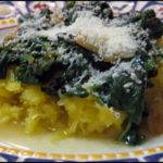 Spaghetti Squash with Garlic Spinach Recipe