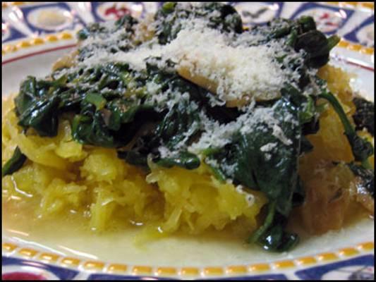Spaghetti Squash with Garlic Spinach Recipe