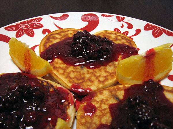 Valentine Heart Chocolate Chip Pancakes with Blackberry Syrup Recipe