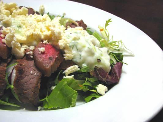 Steak and Field Green Salad with Tzatziki and Feta Recipe