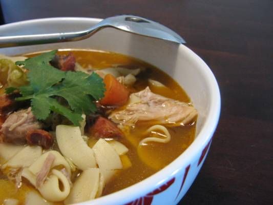 Chicken Chorizo Soup with Cilantro and Egg Noodles Recipe