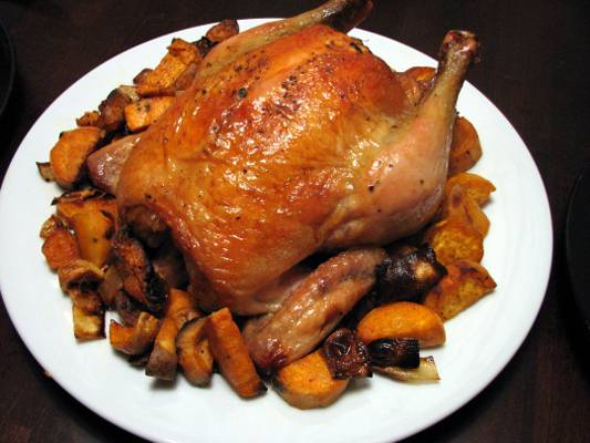 Roast Chicken with Sweet Potatoes, Onions and Garlic Recipe