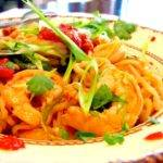 Drunken Chili-Lime-Sherry Shrimp with Garlic, Scallions, Sweet Peppers and Ramen Noodles Recipe