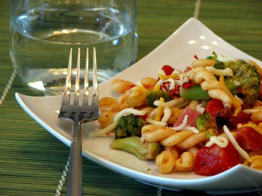 Pasta with Ham Broccoli and Fire Roasted Tomatoes