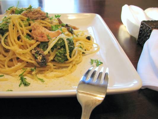 Chicken Confit with Mushrooms and Broccoli over thin Spaghetti Recipe