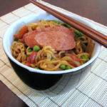 Asian Noodles with Sausage, Onions, Red Peppers and Peas Recipe