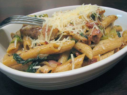 Penne with Bacon and Mustard Greens Recipe