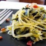 Spaghetti Squash with Crispy Bacon and Turnip Greens Recipe