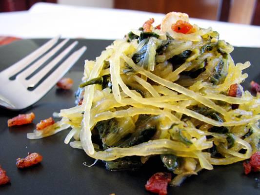 Spaghetti Squash with Crispy Bacon and Turnip Greens Recipe