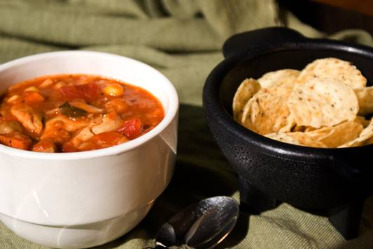 Chicken and Spanish Rice Soup with Chickpeas and Corn Recipe