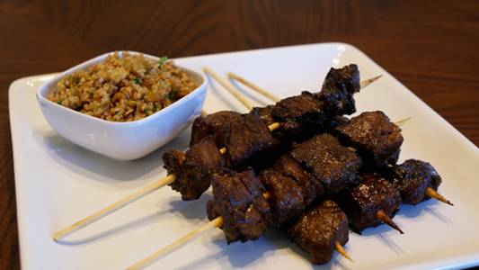 Moroccan-Style Beef Kabobs with Spiced Bulgur