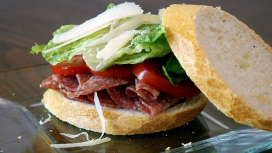 Salami Sandwich With Tomatoes and Parmesan – and Thoughts on Being a Food Blogger.