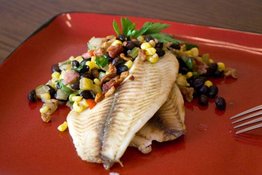 Tilapia with Black Bean and Corn Relish