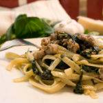 Fettuccine with Spinach and Sausage