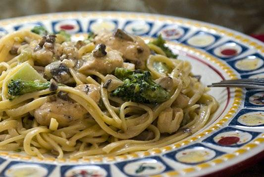 Chicken, Mushroom and Broccoli Alfredo