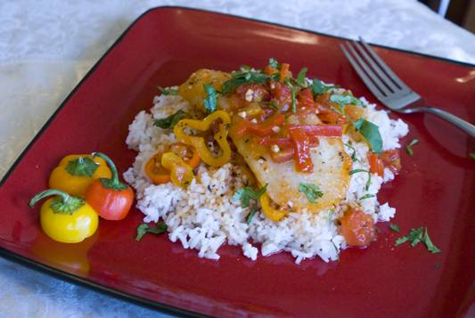 Poached Cod with Sweet Pepper and Tomato