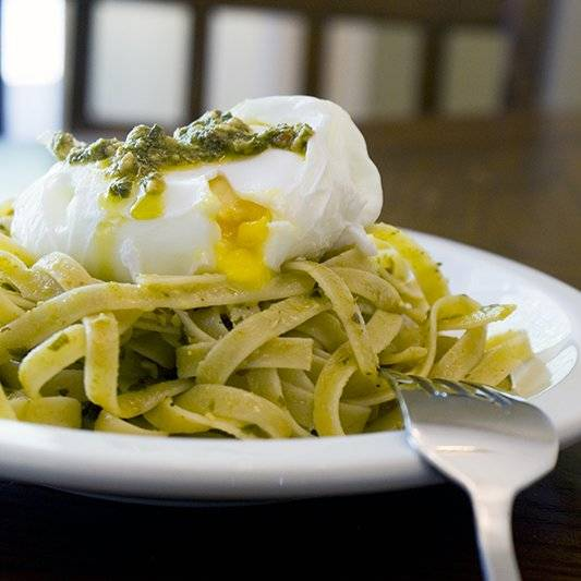 Fettuccine with Poached Egg and Pesto