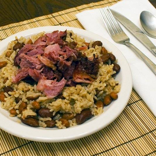 Braised Smoked Ham Shank with Beans and Rice