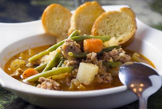 Spicy Sausage Soup. A treat on cold days, a delight when it's warm out.