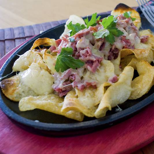Corned beef and potato nachos. Why? because it's fun!