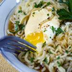 Ramen Noodles with Poached Eggs and Parsley