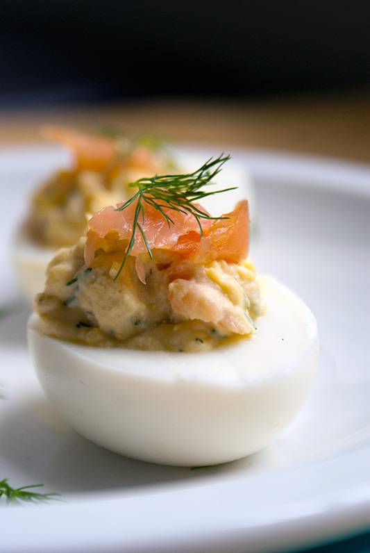 Smoked Salmon, Dill and Chipotle Deviled Eggs
