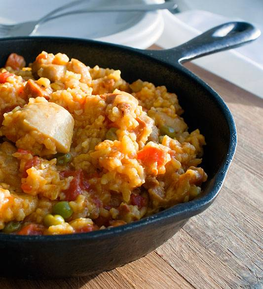 Puerto Rican Arroz con Pollo, a perfect quick meal for any time of year.