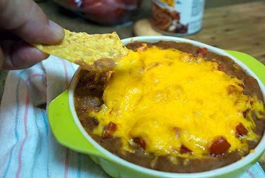 Cheesy Bean and Salsa Dip
