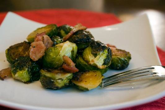 Roast Brussels Sprouts with Bacon