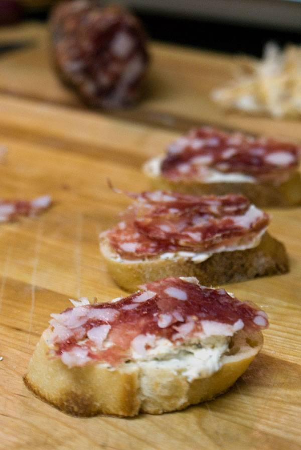 Crostini with Herbed Cream Cheese and Salami