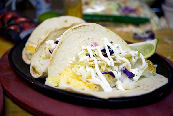 Sea Bass Fish Tacos with Spicy Sour Cream