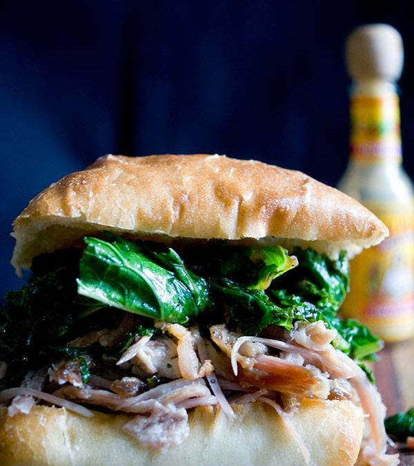 Pulled Pork, Greens and Bacon Sandwich – Put some South in your mouth