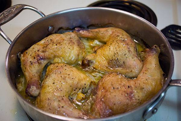 Baked Chicken Leg Quarters with Caramelized Onions.
