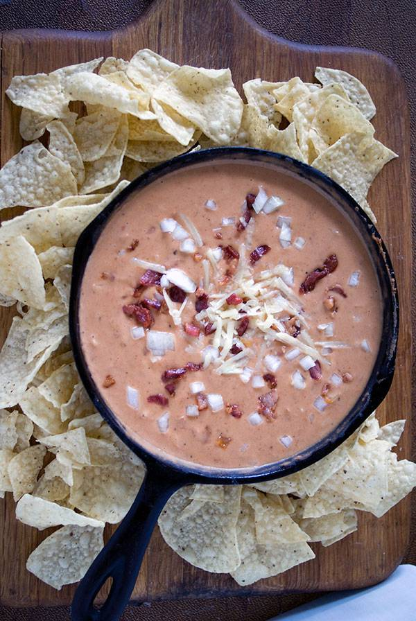 Bean and Bacon Dip with Salsa, Sour Cream and Cheddar