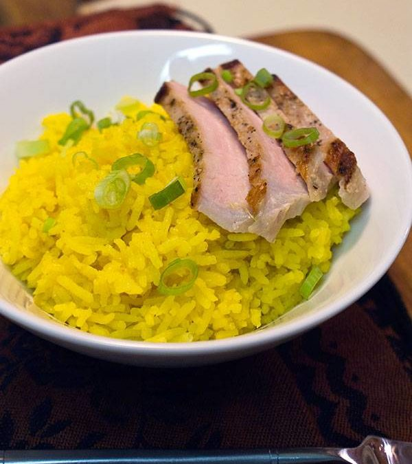 Golden Rice with Pan Seared Pork