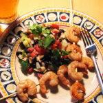 Drunken Chili Shrimp with 3 Bean and Cucumber Salad Recipe