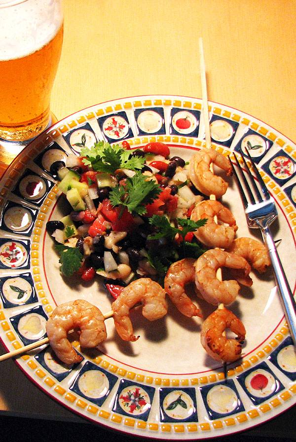 Drunken Chili Shrimp with 3 Bean and Cucumber Salad Recipe