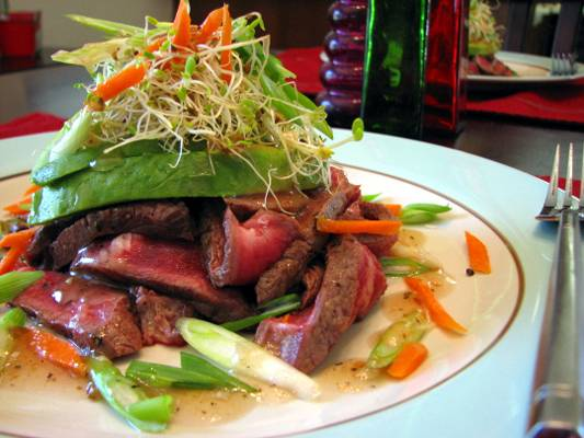 Pan Seared Beef with Avocado, Alfalfa Sprouts and Plum Vinaigrette