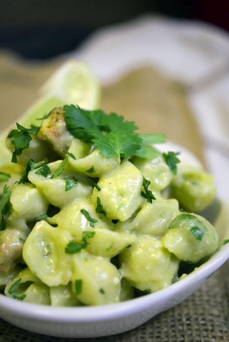 Shells & Cheese with Chorizo, Avocado and Lime