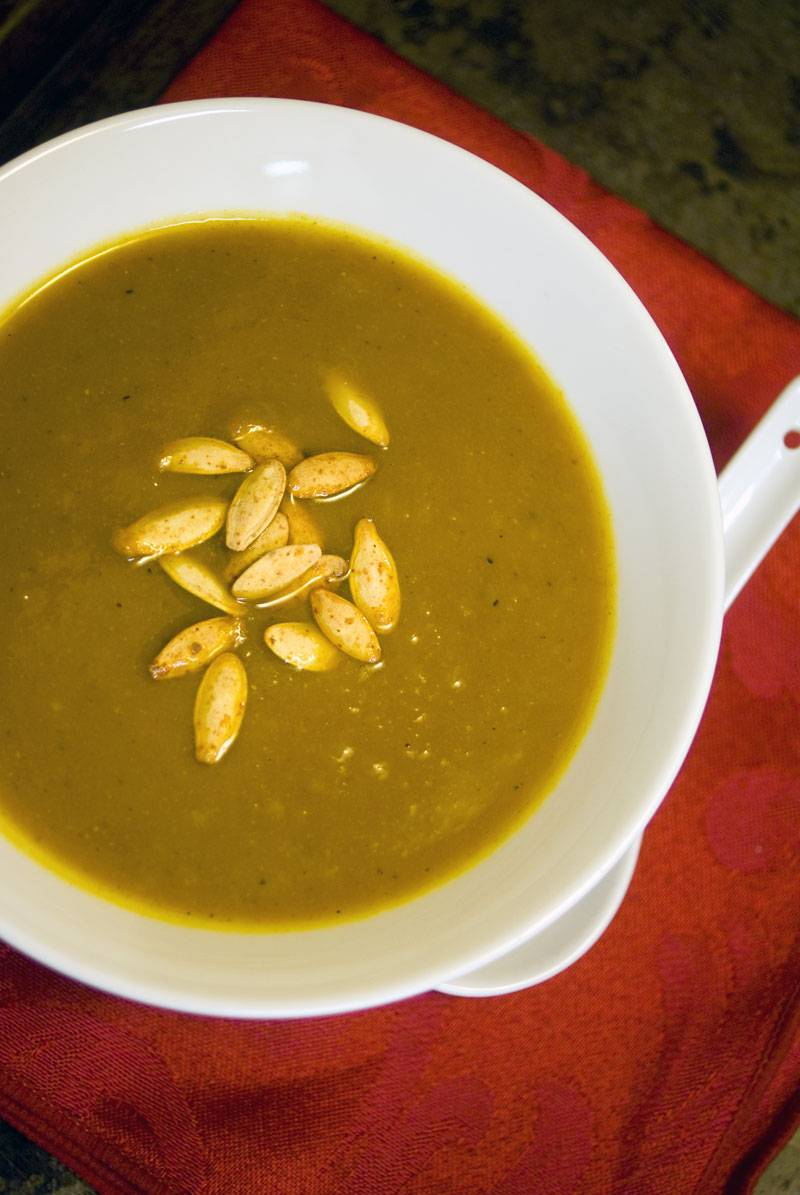 Rich and Hearty Curried Pumpkin Soup, sure to warm you on the chilliest of evenings.