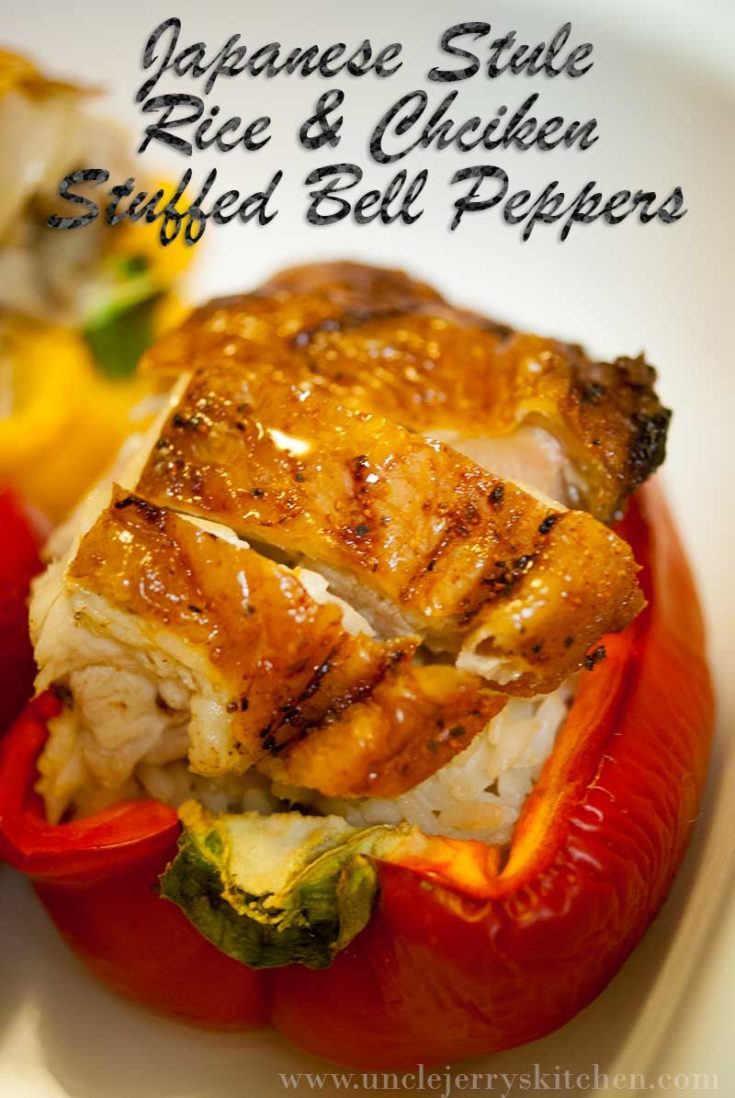 Japanese Style Rice and Chicken Stuffed Bell Peppers