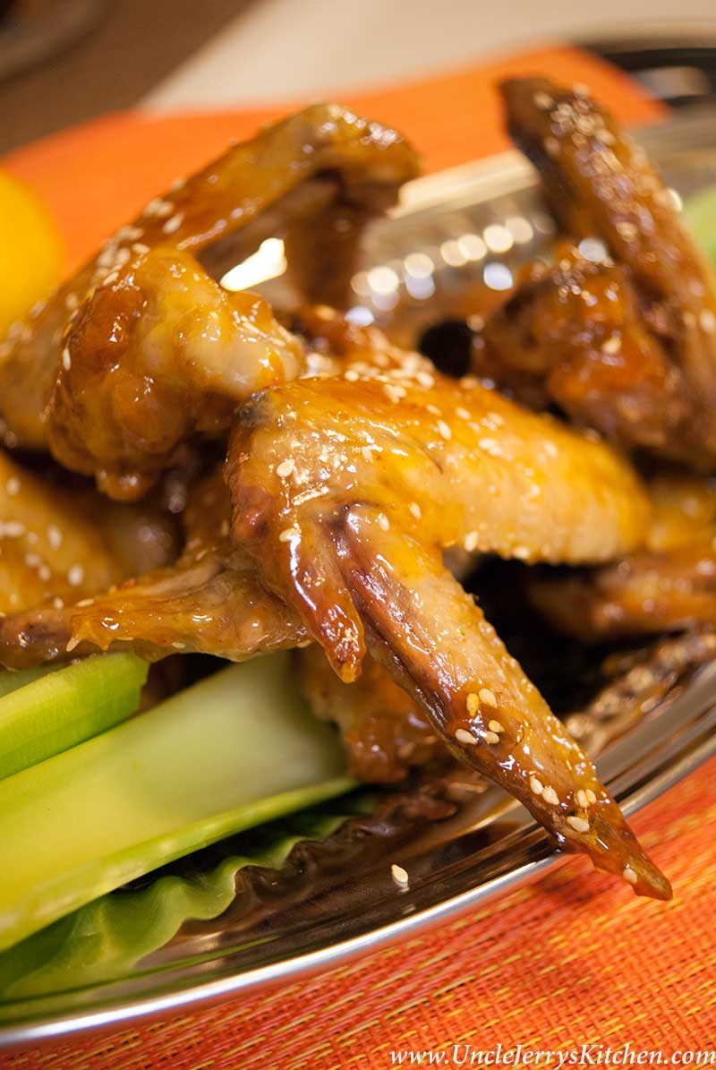 Gloriously sticky apricot-sesame chicken wings - Sesame Apricot Chicken Wings Recipe