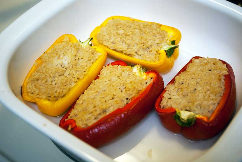 bell Peppers Stuffed with Japanese Style Rice