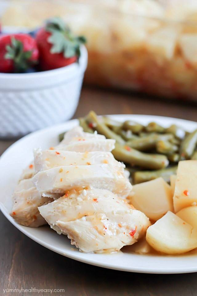 Baked Italian Chicken, Potatoes and Green Beans