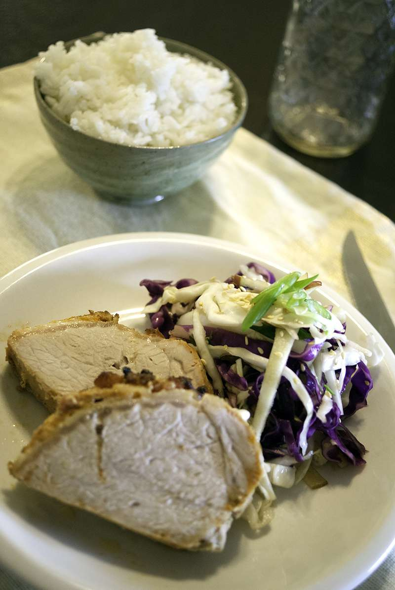 Grilled Pork Loin Filet with Asian Cabbage and Apple Salad
