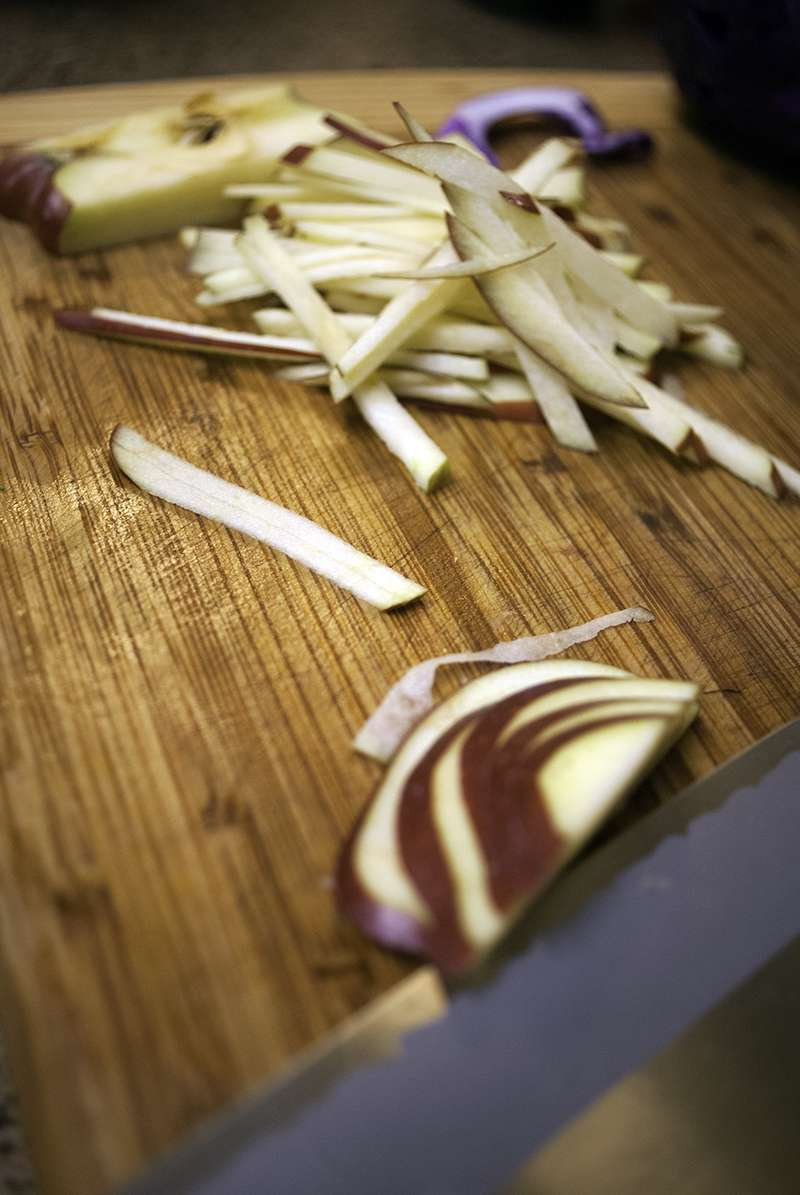Matchstick Apples for Asian cabbage and apple salad