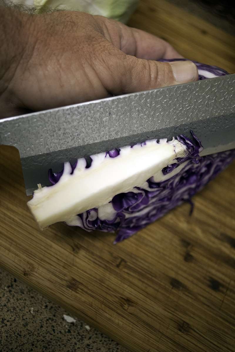 Quick way to remove the stem from a red cabbage