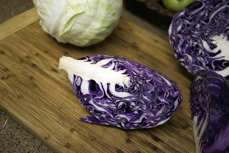 Cutting Red Cabbage for Asian cabbage and apple salad