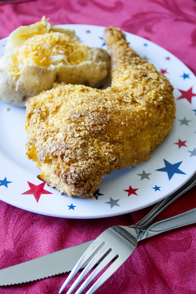 Moist, succulent and tender baked chicken with an even crispier crust than fried. Doritos crusted chicken is sure to become one of your family's favorite recipes.