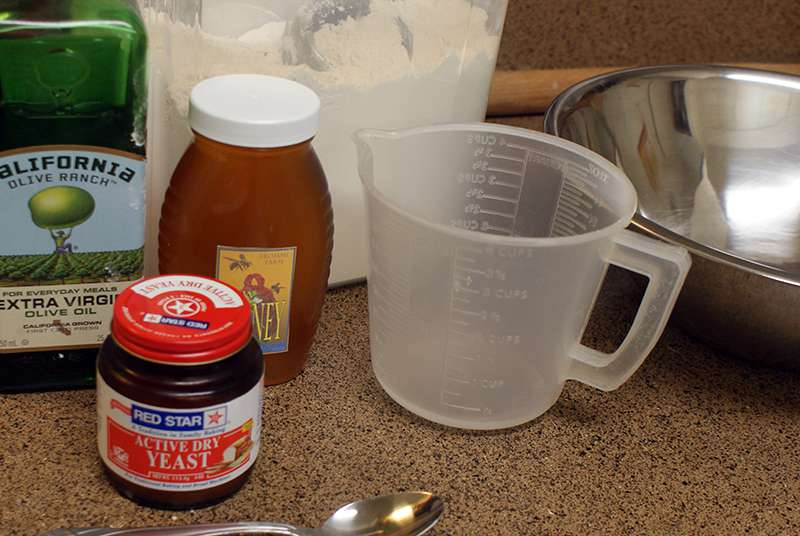 Ingredients ready for 5 minute pizza dough